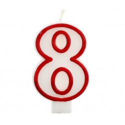 Свічка цифра 8 червоний контур