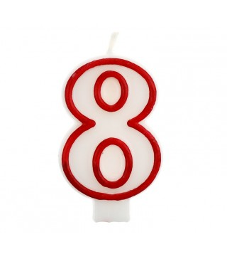 Свеча цифра 8 красный контур