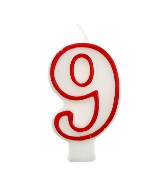 Свеча цифра 9 красный контур