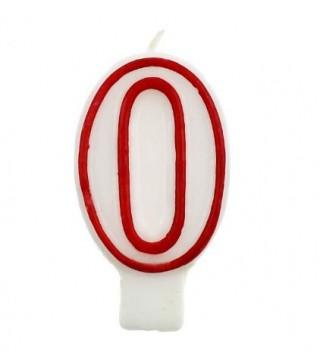 Свічка цифра 0 червоний контур