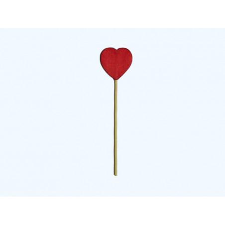 Сердце деревяное красное