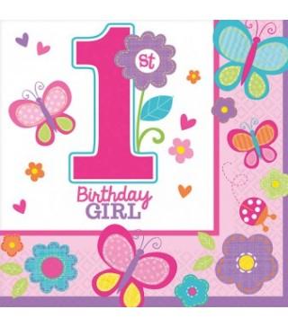 Салфетки 1-st Birthday girl
