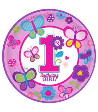 Тарілочки 1st Birthday girl 8 шт/уп