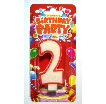 Свеча цифра 2 на День Рождение