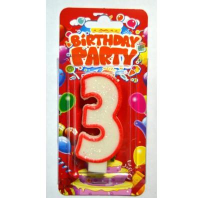 Свеча цифра 3 на День Рождение