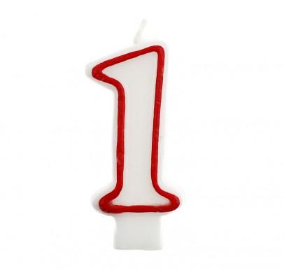 Свеча цифра 1 красный контур