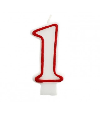 Свічка цифра 1 червоний контур