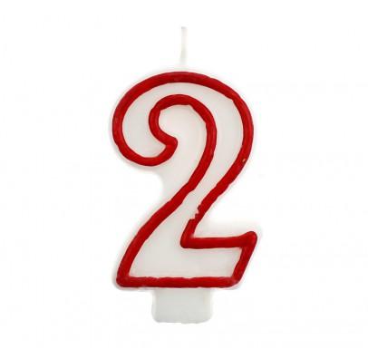 Свеча цифра 2 красный контур