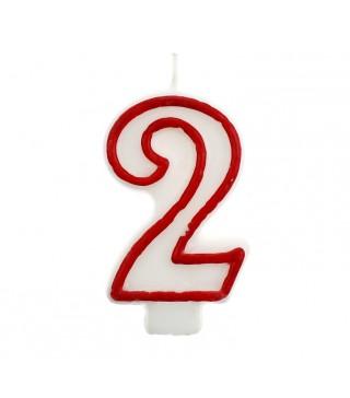Свічка цифра 2 червоний контур