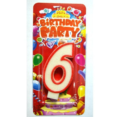 Свеча цифра 6 на День Рождение