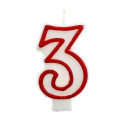 Свічка цифра  3 червоний...
