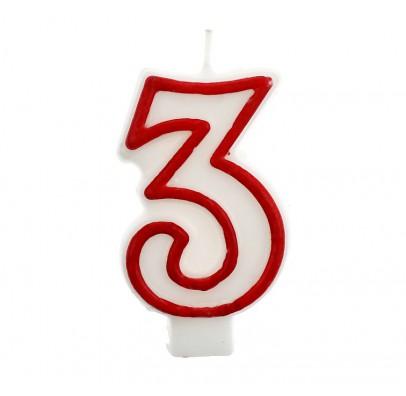 Свеча цифра 3 красный контур