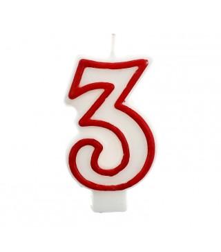 Свічка цифра 3 червоний контур