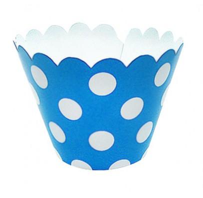 Формочки для маффинов голубые в горох