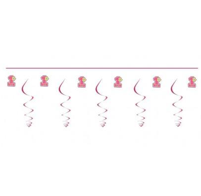 Гирлянда 1-й День Народження розовая