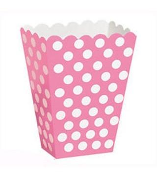 Коробка для попкорна розовая в горох