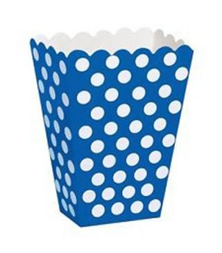 Коробка для попкорну блакитна в горох