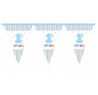 Гирлянда-флажки 1-st Birtchday голубые