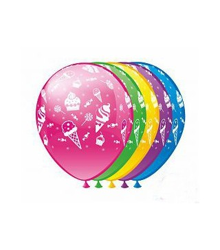 Кулька кругла 12`` Морозиво і тістечка 100шт/уп