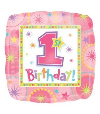 Шарик фольгированный 1-st Birthday girl