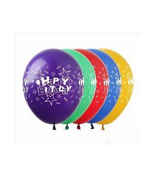 Кулька кругла 12 Happy Birthday 100шт/уп