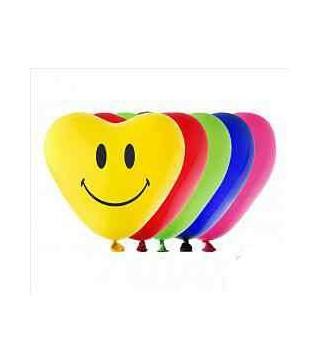 Кулька серце 12`` Смайлик (мікс)