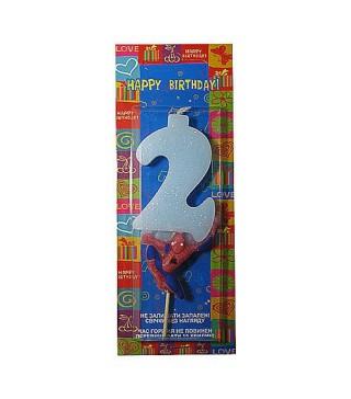 Свічка цифра 2 Спайдермен