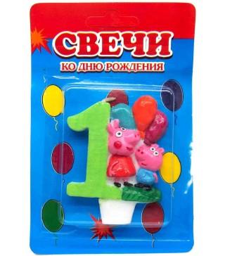 Свічка цифра 1 Свинка Пеппа