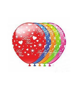 Кулька кругла 12`` Серця і зірки 100шт/уп