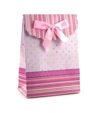 Бонбоньєрка рожева з бантиком на липучці