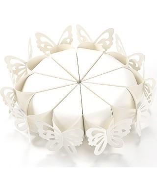 Бонбоньерка тортик Бабочка белая