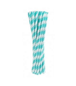 Трубочки для коктейля голубые в полоску 24 шт/уп
