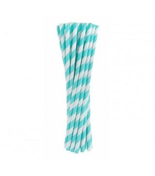 Трубочки для коктейлю блакитні в смужку 24 шт/уп