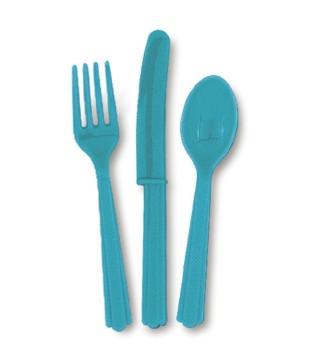 Набір виделки, ложки, ножі (блакитні)