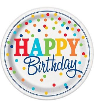 Тарілочки Happy Birthday білі в кольоровий горох