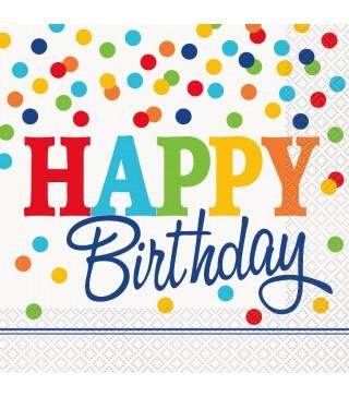 Серветки Happy Birthday білі в горох