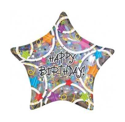 Шарик фольгированный звезда Happy Birthday