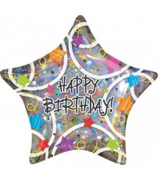 Кулька фольгована зірка Happy Birthday