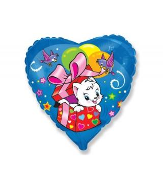 Кулька серце Сюрприз котик