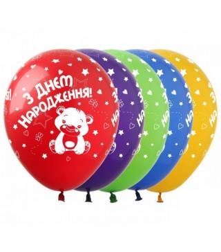 Набір кульок З днем народження Теді 5 шт/уп