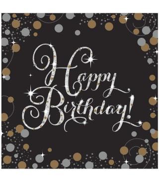 Серветки Happy Birthday чорні