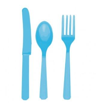 Набір столових приборів блакитний 24 шт