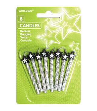 Свічки срібні з зірочками