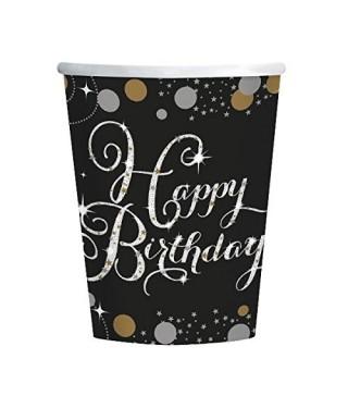 Стаканчики Happy Birthday черные