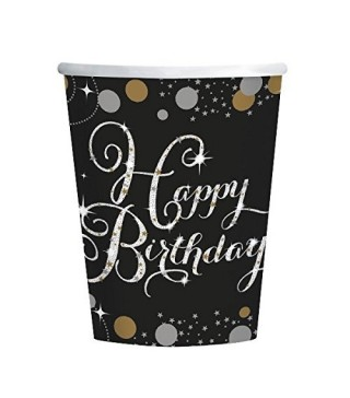 Стаканчики Happy Birthday чорні