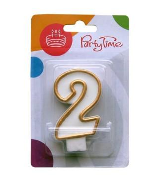Свічка цифра 2 золотий контур