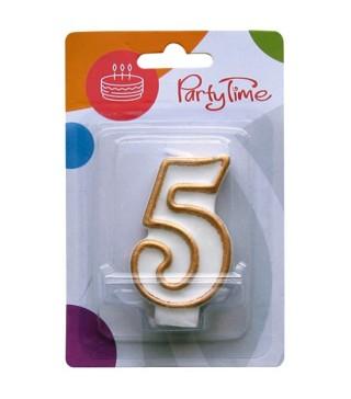 Свеча цифра 5 золотой контур