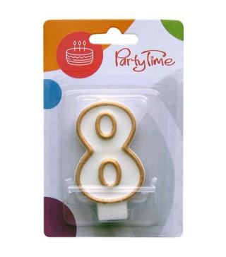 Свічка цифра 8 золотий контур