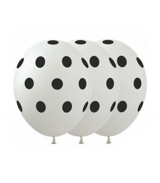 Кульки білі в чорний горох 5 шт/уп