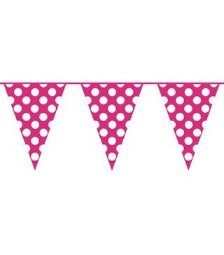 Гірлянда-прапорці рожеві в горох
